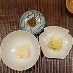 竹屋町 三多 - 葱とお揚げの炊き込みご飯 と 明石産鯛味噌 と 香の物