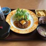 鳥海山 - 料理写真:手作りの鮪ハンバーグとごはんセット