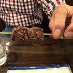 赤兵衛 - 牛サガリ串 父親がフライングして食べちゃった