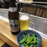 貴家。 - まずはビールと枝豆