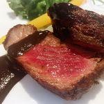 77877590 - 牛カイノミ肉の網焼き 冬野菜添え トランペット茸のソース