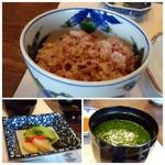 室 - ◆雑穀米ご飯。香の物、お味噌汁。 こちらのお味噌汁、具材は「お葱」だけなのですが、丁寧にお出汁を引いたお味噌汁はとても美味しいのです。