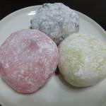 ゆうき茶屋 - 塩粒黒豆(120円)、いちごヨーグルト(120円)、プリン大福(150円)