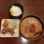 麺場 田所商店 - 唐揚げセット 北海道味噌ラーメン ¥930税別