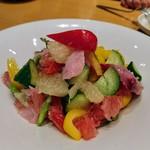 77894480 - カツオとグレープフルーツ、野菜のマリネ