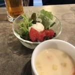 77903834 - パスタランチのスープ、サラダ