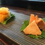 宇佐美 - 料理写真:あん肝しょうが煮とほたて和え物