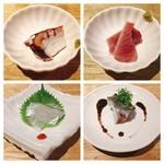歩路庵 中目黒 - お造りの数々。秋刀魚はわた醤油で上品に…ほんのりとした身の苦味もよかった。