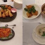 バリアフリーホテルあすなろ - 夕食2(左上:蟹爪と春巻き、右上:蟹爪と春巻き&蟹と舞茸の炊き込みご飯、左下:天然海老のチリソース煮(ピンボケ失礼)、右下:白湯スープ)