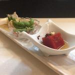 77946813 - 小鉢3種(トマトのお豆腐、枝豆)