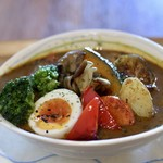 HORI cafe - 国産鶏のスープカレーと季節の焼き野菜(サラダ付)