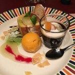 西洋懐石アンシャンテ - デザート盛り グレープフルーツロールケーキ、コーヒーゼリー、マンゴーシャーベット