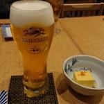 大坂おでん 久 - 生ビールとお通し