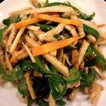 身土不二 - 青椒肉絲だけれども、お肉は大豆タンパクでフォロー。