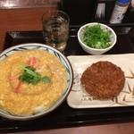 丸亀製麺 - かに玉あんかけ並&厚切りハムカツ