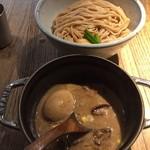 78019589 - もつつけ麺(全粒粉2玉)+煮卵 1050円