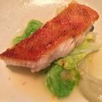 78020772 - 金目鯛の鱗付け焼き 蛤のピュレ 白菜のジュ