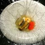 京都 鉄板焼 おはら - 初体験の不思議なフィルムで蒸し焼きにされたシーフードと野菜