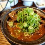 もつ吉 - 和牛ユッケと牛スジ煮込み定食 1822円