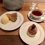 78062500 - 林檎のアップサイドダウンケーキ&モンブラン&アッサム