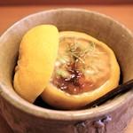 日本料理 きた川 - お凌ぎ 雲子の飯蒸し 柚子釜で