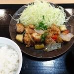 鶏彩 - 期間限定 黒酢餡定食590円