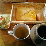 珈らく - 料理写真:ドリンク380円でモーニングセットですが、こちらは、さらに+170円(税込)で、朝得セットにしたものです。
