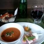 78091984 - ヒヨコ豆のスープと前菜とパン ほっこり♪