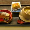ねぎま - 料理写真:小皿料理3品: 江戸前玉子焼きとうるめいわし 鰆の幽庵焼きとぜんまい煮 牡蠣の茶碗蒸し1