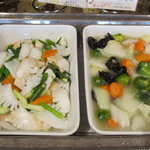 中国料理バイキング 孫悟空 - イカと季節野菜炒め 五目野菜の煮込み