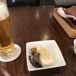 78120406 - お豆腐に海老とネギソース。