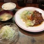 グリル竹 - 豚ロースステーキ+ライスセット+サービスのサラダ^^: