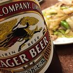 三ちゃん食堂 - ビールのツマミにネギ肉イタメはよく合います