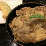 丸亀製麺 - かぼちゃ天 100円          牛とじ丼 450円