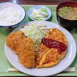 好養軒 - 好養軒 @御徒町 オムレツ定食 ご飯小 590円+魚フライ 130円(共に税込)