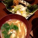 銀平 - 味噌汁&漬物