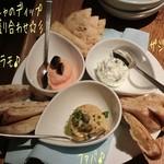 風の蔵 - 王道コース(2700円)♪ ギリシャのディップ3種盛り合わせ(ザジキ、タラモ、ファバ)はピタブレッドにつけて。たらことじゃが芋のタラモ、ヨーグルトと胡瓜のザジキ、ひよこ豆と玉葱のファバでどれもイケる!