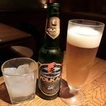 風の蔵 - ギリシャビール フィックス(680円)やボルカン(880円)、ウーゾのロックなども頂く♪ ウーゾは透明なリキュールだけど、水や氷が混ざると白く濁るそうw(°o°)w