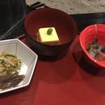 料理旅館 田事 - にしんの山椒漬け もろこし豆腐 小鉢