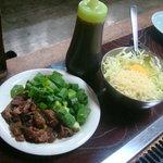 くいだおれ - 料理写真:牛スジ・ネギ焼き(\630)
