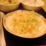 大連飯店 - セットの生野菜とミニチャーハン