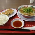 ra-menkairikiya - 醤油ラーメン餃子定食セット(税込950円)