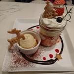 Hachi Cafe - いちごサンタとトナカイのクリスマスケーキプレート(2017.12)