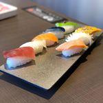 78226022 - 本日の寿司盛合せ、お昼の炙り三貫盛り