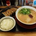 ラーメン横綱 - 味玉ラーメン+黒豚餃子+白ご飯小の1,000円セット