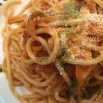 78233356 - ローストポークとキノコのトマトソーススパゲッティ。                       美味し。