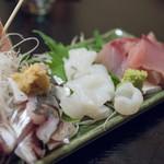 泰然 - 2017.12 刺し盛り(アジ、北海ダコ、イナダ)