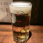 ちょんたま食堂 - 鹿がカワイィから生ビール一杯サービスして下さりまさした       店長ありがとう♪