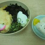 下関駅 待合売店 - ふく天うどん+おにぎり1皿