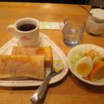 ロッキー - モーニングAセット(シナモントースト・サラダ&ハーフエッグ・ホットコーヒー) 320円
